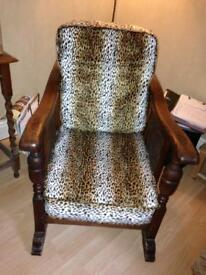 Antique oak chair leopard print upholstery