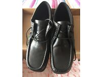 Brand New Men's Black Leather Kickers Shoes Size 10