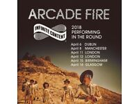 4x Arcade Fire standing tickets, Manchester Arena, Sunday 8th April 2018