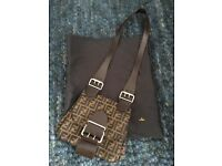 Authentic FENDI cross-body style handbag, class monogram canvas print with leather trim