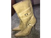 Ladies Tan Suede High Heel Boots 6