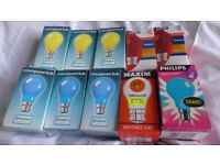 10 Party / Disco Light Bulbs, various colours. All bayonet fittings. All UNUSED, in makers' boxes.