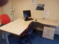 Like Like New high quality corner desk and 2 chairs paid £300 now BARGIN for quick sale £70 only
