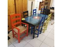 Solid pine wood upstyled dining room table and 6 chairs ( 2carvers )