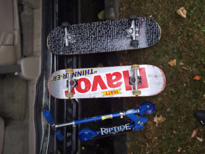 2 used skateboards and 1 scooter