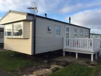 Superb 8 birth Platinum rated caravan for hire at sandy bay holiday park , northumberland.
