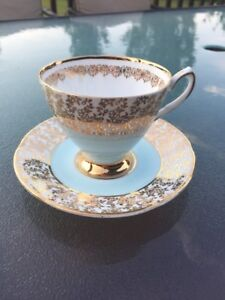 blue and gold stratford teacup and saucer