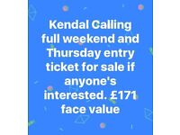 Kendall Calling Ticket 27th - 30th July Thursday entry and full weekend music festival