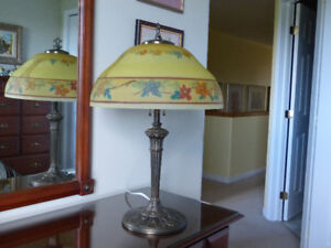 Vintage Electrical Lamp with Hand Painted Glass Shade