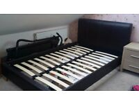 SMALL DOUBLE FAUX CHOCOLATE LEATHER HEADBOARD AND BED BASE - EXCELLENT CONDITION REDUCED QUICK SALE