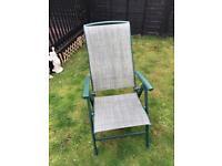 Set of 4 green adjustable garden chairs