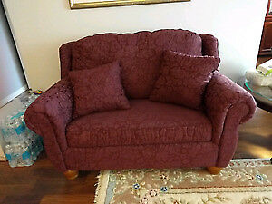 """REDUCED"" MOVING SALE-BURGANDY LOVESEAT SOFABED"