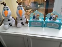 Frozen jewellery boxes and Olaf with a light up nose