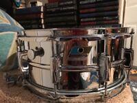Ludwig 411 Super Sensitive 1970 Blue and Olive Badge 14x6.5 Snare Drum Vintage