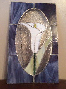 Calla lily stained glass window panel