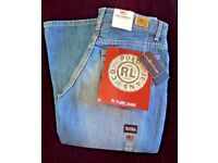 "Ladies designer ""RALPH LAUREN"" Polo Jeans RL FLARE - RETRO BLUE 4 x 33 zip -28""W"