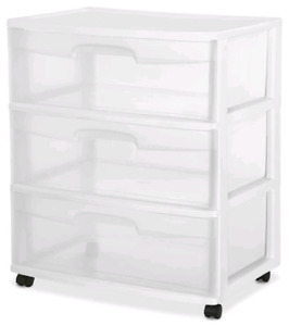 Sterilite Wide 3 Drawer White WITHOUT wheels