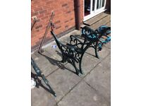 Pair of cast iron (very heavy) garden chairs (ends only)