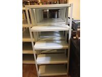 9 x white metal shelving units for sale. PRICE PER UNIT Bookshelf / office storage. Collection only