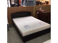5' King size brown faux leather bed frame