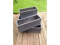 Dark grey fibrecotta trough planters £8 each