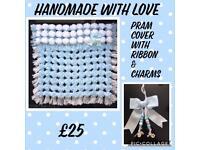 Pom Pom Pram Cover with ribbon and charms