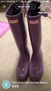 Hunter rain boots - size 9, purple