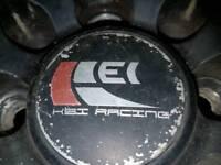 R17 4 stud muti fit hei racing black alloys / tyres