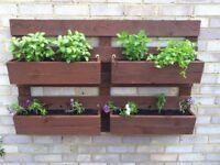 Wooden planter wall set 4 handmade - pallets style