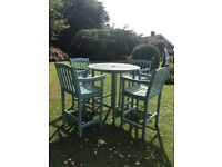 Lovely wooden bar table and bar chairs