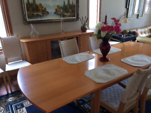 IKEA dining room table,chairs and China hutch