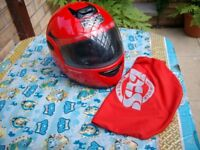 redaxs motorcycle helmet red large in ex condition with carry cover