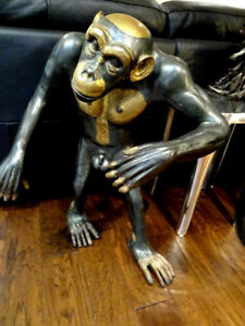 huge BRONZE monkey sculpture CHIMPANZEE TROPICAL JUNGLE gorilla