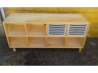 Pine Storage Unit on Wheels / TV stand? - DELIVER AVAILABLE
