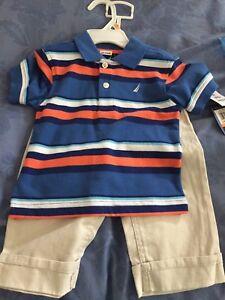 Boys khaki pants and shirt - New - 12 mths