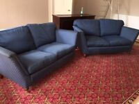 PAIR OF BLUE TWO SEATER SOFAS