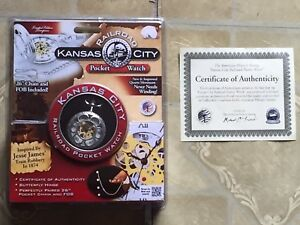 Kansas City railroad pocket watch w/ certificate of authenticity