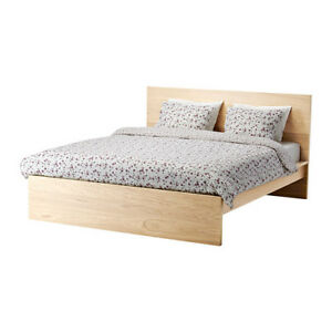 Ikea Malm Queen Sized Bed & Ikea Malm 6 Drawer Dresser for Sale.