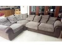 Brown and beige Jumbo Cord Corner sofa