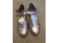 Silver Leather Women's Next Shoes, size 5