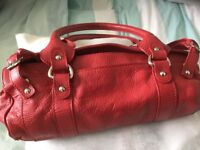 Red Leather Barrel Handbag