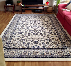 Navy & beige thick low pile area rug