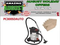 SEALEY PC300SDAUTO VACUUM CLEANER INDUSTRIAL 30LTR 1400W STAINLESS + 5 DUST BAGS