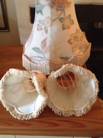 Quality lampshades , one large and 9 smaller wall light shades