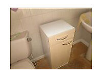 light wood and white bathroom floor cupboard with drawer used
