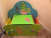 Fimbles small wooden toy box & bookcase