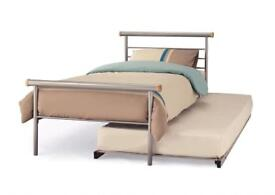 Metal single bed frame and mattresses + guest bed frame (no mattress)