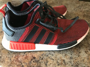 ADIDAS NMD R1/ CIRCA KNIT  LUSH RED **USED** SIZE 12