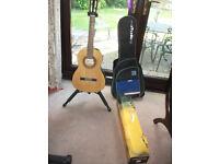 3/4 size Santos Martinez classical guitar + Hercules stand + ROKSAK carry case
