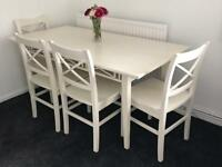 Dining table and four chairs white